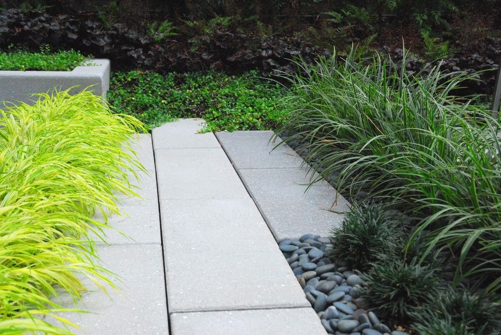 Hanover Pavers for a Contemporary Landscape with a Modern and Modern Courtyard by Greenblott Landscape & Interiors