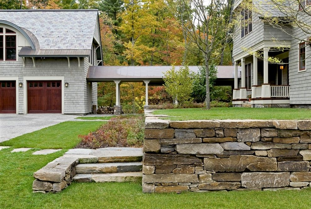 Hanover Pavers for a Victorian Landscape with a Covered Walkway and Shingle Style Home in Hanover Nh by Smith & Vansant Architects Pc
