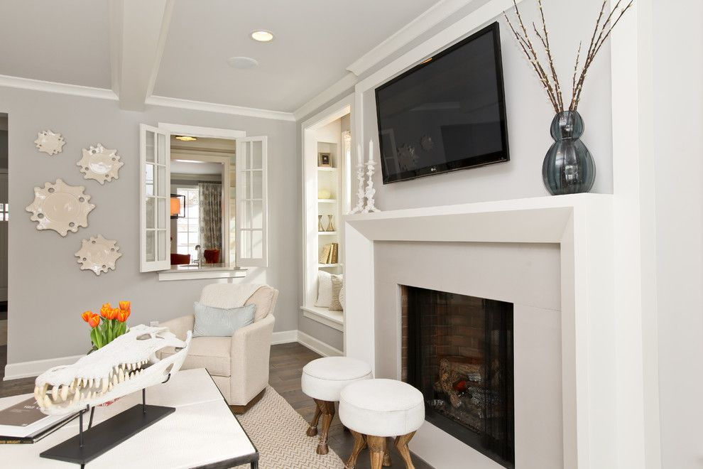 Hanstone for a Contemporary Living Room with a White Fireplace Surround and Modern Cottage Dream Home in Edina by Refined Llc