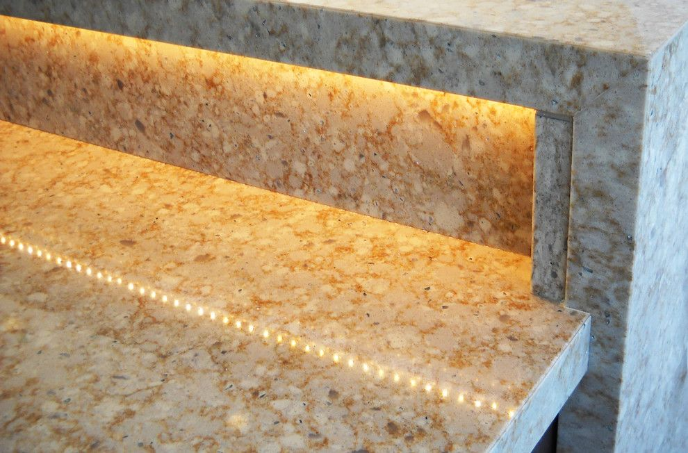 Hanstone for a  Home Bar with a Hanstone and Ivory Wave Hanstone Quartz by Madison Block & Stone