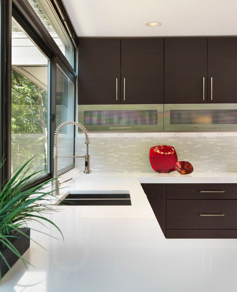 Hanstone for a Modern Kitchen with a Subzero and Modern Kitchen by Ri Kitchen & Bath