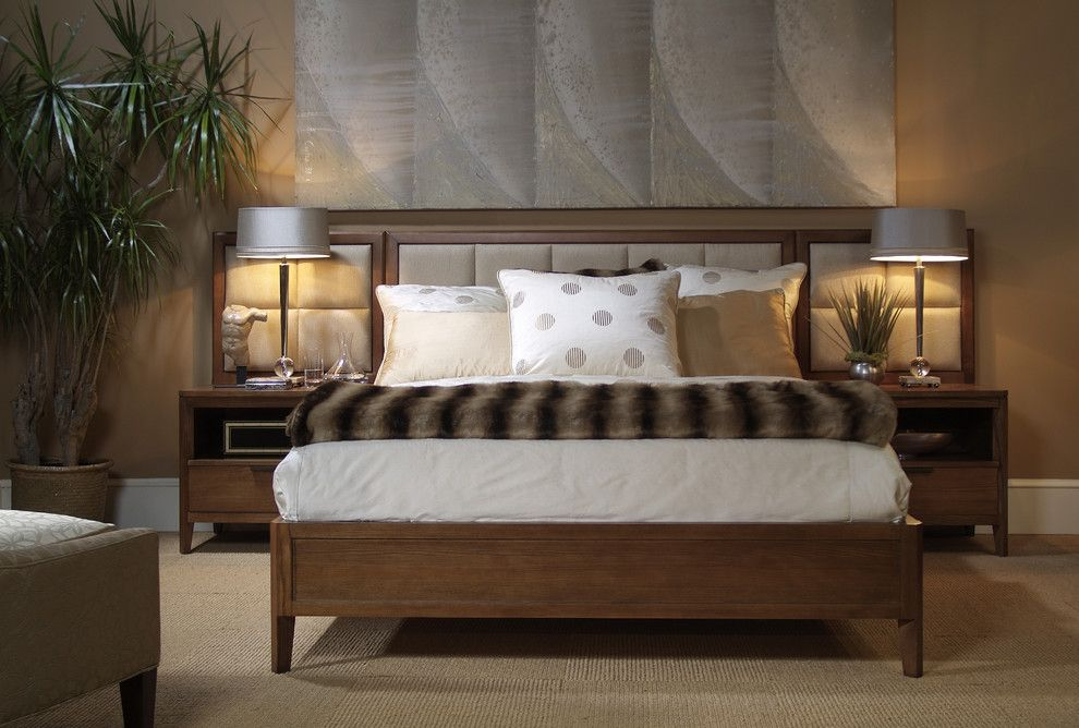 Harden Furniture for a Contemporary Bedroom with a Light Stain and Upholstered Beds by Almira Fine Furniture