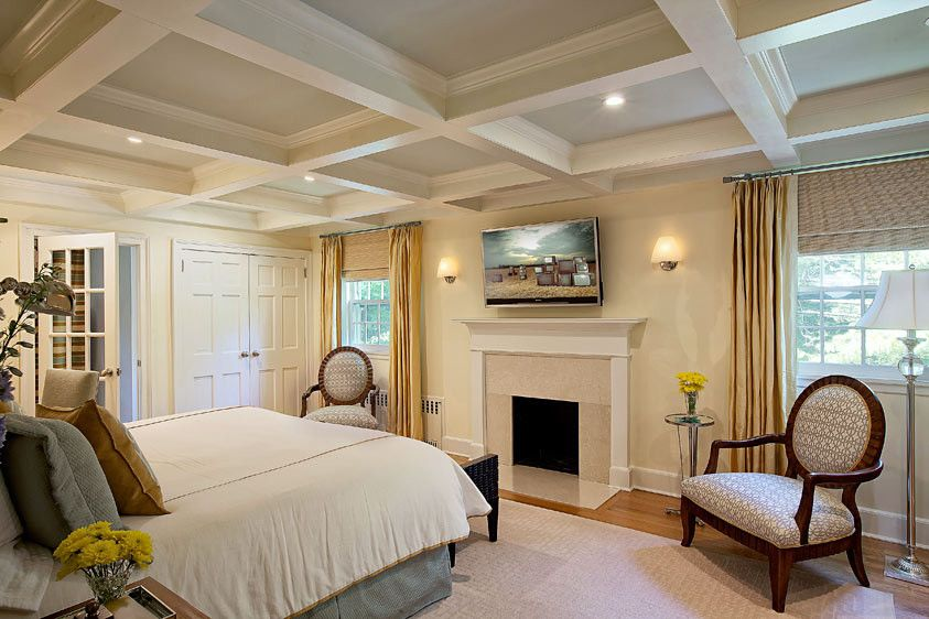 Harden Furniture for a Eclectic Bedroom with a Blue Ceiling and Relax Under a Blue Sky (Or Ceiling!) by B Fein Interiors Llc