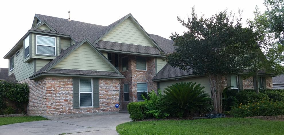 Hardieplank for a Traditional Exterior with a Sherwin Williams Clary Sage Sw6178 and Hardieplank Beaded Cedarmill Lap Siding Houston Texas by Texas Home Exteriors