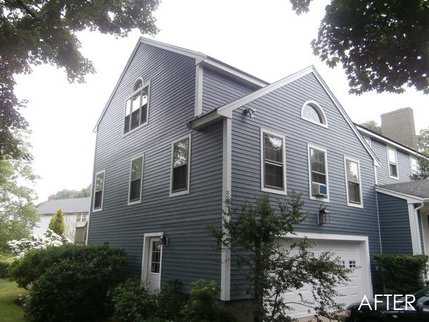 Hardieplank for a Traditional Exterior with a Traditional and Marblehead, Ma   James Hardie Hardieplank Select Cedarmill Siding in Evening Blu by Homescapes of New England, Llc
