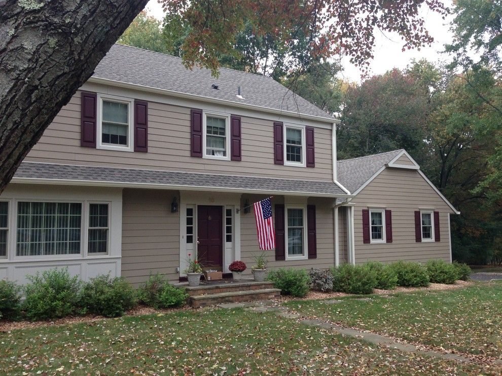 Hardieplank for a Traditional Exterior with a Window Grids and Hardieplank Khaki Brown (Basking Ridge, Nj) by American Home Contractors