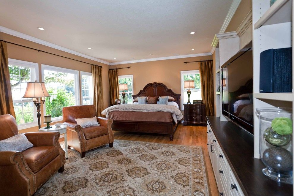 Haverty Furniture for a Traditional Bedroom with a Leather Armchair and Dulce Almond Master Bedroom by Angela Todd Designs, Portland, Or