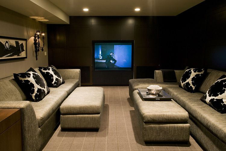 Hdhd for a Contemporary Home Theater with a Custom Seating and Media Room by Bruce Johnson & Associates Interior Design