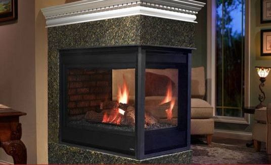 Heatilator for a Contemporary Living Room with a Gas Burning Fireplace and Peninsula 3 Sided Gas Fireplace by Heatilator Fireplaces