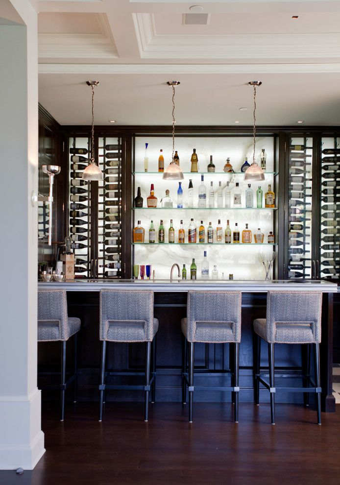 Hefner Furniture for a Transitional Home Bar with a Wine Storage and Palisades Riviera by Jackson Paige Interiors, Inc.