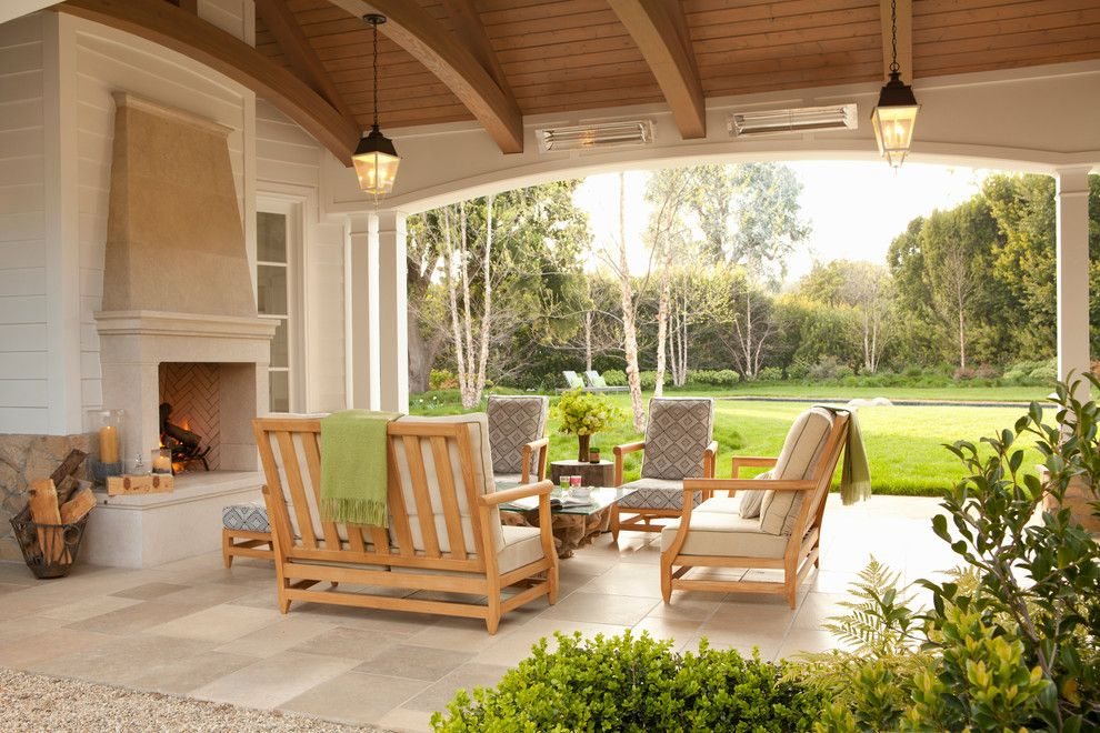 Hefner Furniture for a Transitional Patio with a Oversized Arch and Palisades Riviera by Jackson Paige Interiors, Inc.