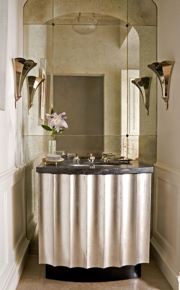 Hefner Furniture for a Transitional Powder Room with a Wall Lighting and William Hefner Architecture Interiors & Landscape by Studio William Hefner