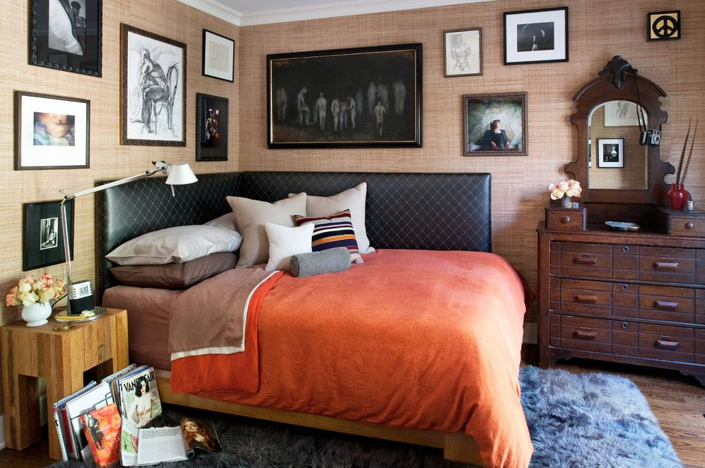 Hemnes Bed Frame for a Eclectic Bedroom with a Corner Bed and West Hollywood Residence by Tommy Chambers Interiors, Inc.