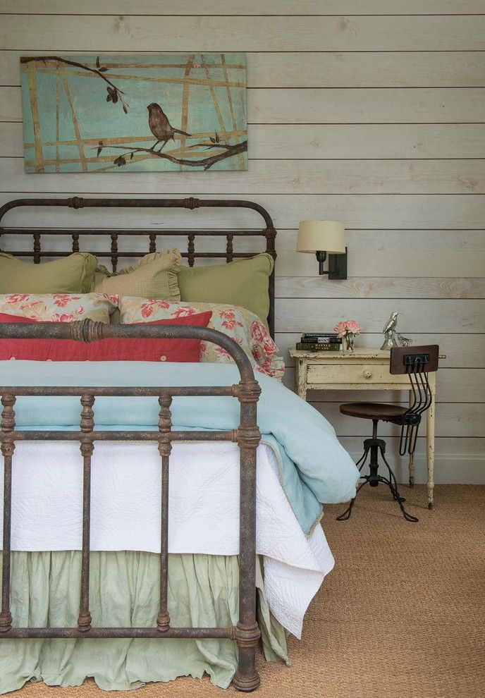 Hemnes Bed Frame for a Farmhouse Bedroom with a Green Bed Skirt and Athens Farmhouse by M. Barnes & Co
