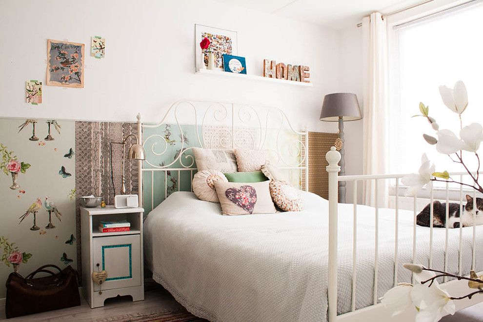 Hemnes Bed Frame for a Shabby Chic Style Bedroom with a Gray Floor Lamp and My Houzz: Revamped Flea Market Finds Add Personality to a Dutch Home by Louise De Miranda