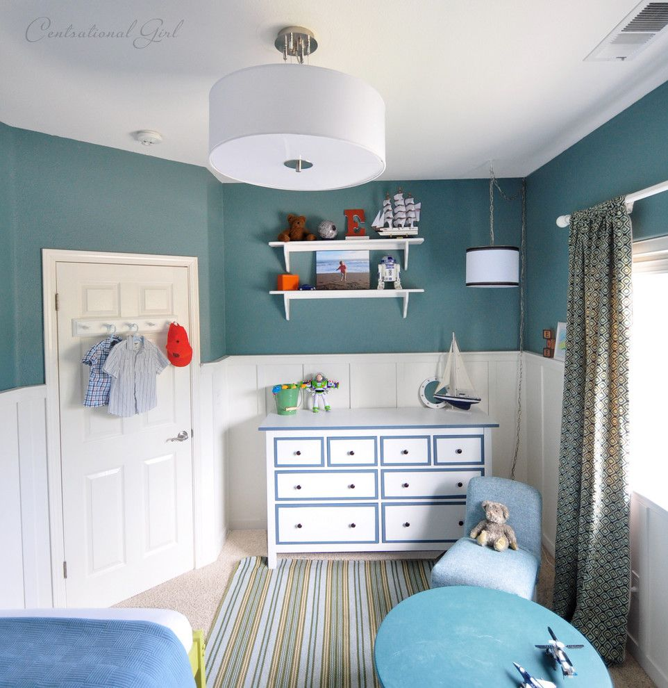 Hemnes Ikea for a Contemporary Kids with a Blue and Boy's Room Dresser by Kate Riley   Centsational Girl