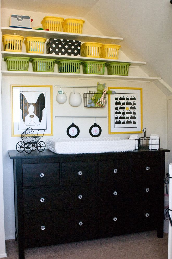 Hemnes Ikea for a Contemporary Nursery with a Yellow and Yellow and Black Nursery by Jennifer Bishop Design