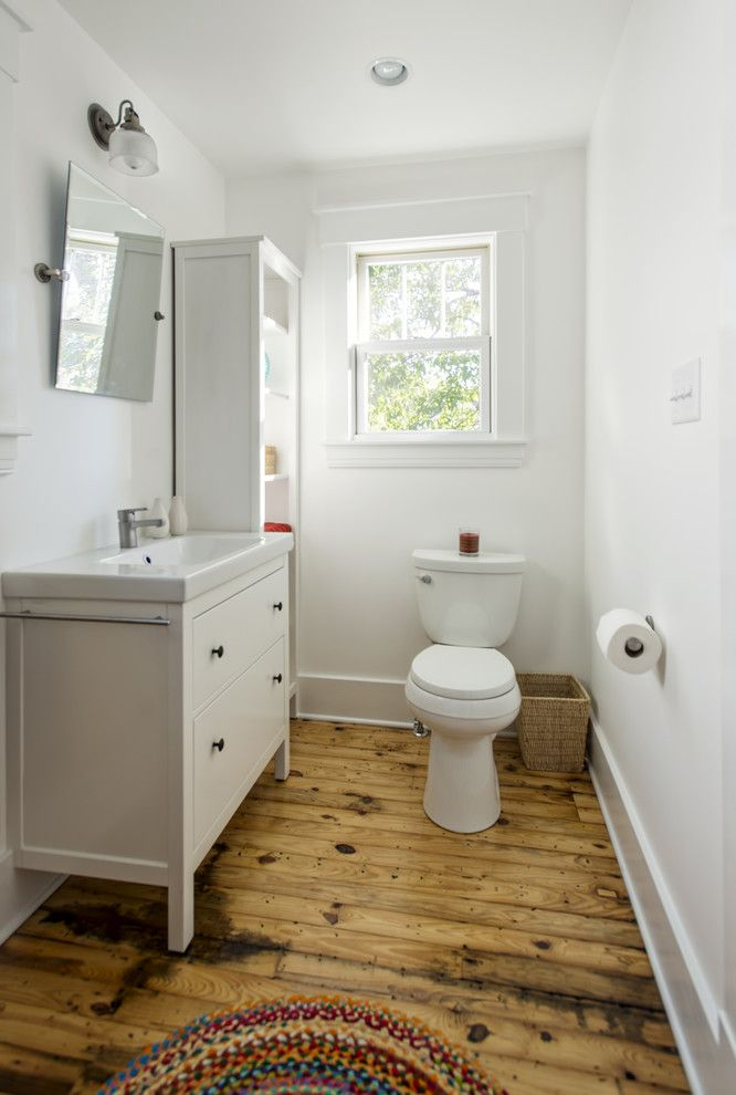 Hemnes Ikea for a Traditional Bathroom with a Rustic Wood Floor and S. Bayly Kitchen by Rock Paper Hammer