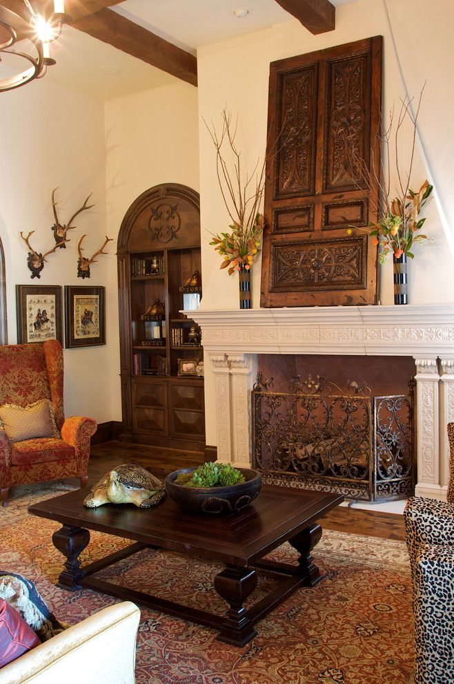Heritage Homes Fargo for a Mediterranean Family Room with a Floral Arrangement and Kaleidoscope of Homes (Simmons Estate Homes) by Heritage Design Studio