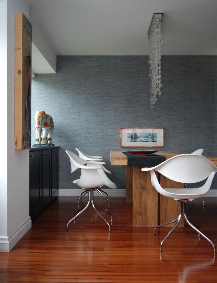 Herman Miller Outlet for a Contemporary Dining Room with a Woven Wallpaper and Mj Lanphier by Mj Lanphier