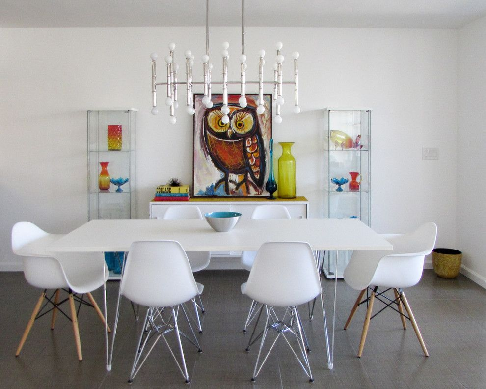 Herman Miller Outlet for a Midcentury Dining Room with a Vintage Art and Palm Springs Open Dining Room by California Lustre