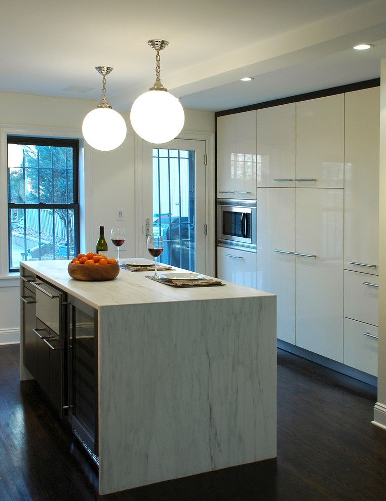 Hermitage Lighting for a Modern Kitchen with a Globe Pendants and a Brooklyn Townhouse by Muse Architecture