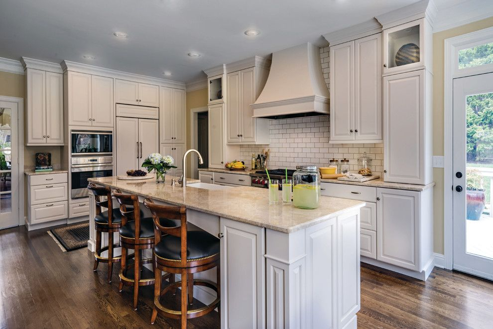 Hermitage Lighting for a Traditional Kitchen with a White Painted Wood and Autumn Place by Hermitage Lighting Hardware Gallery