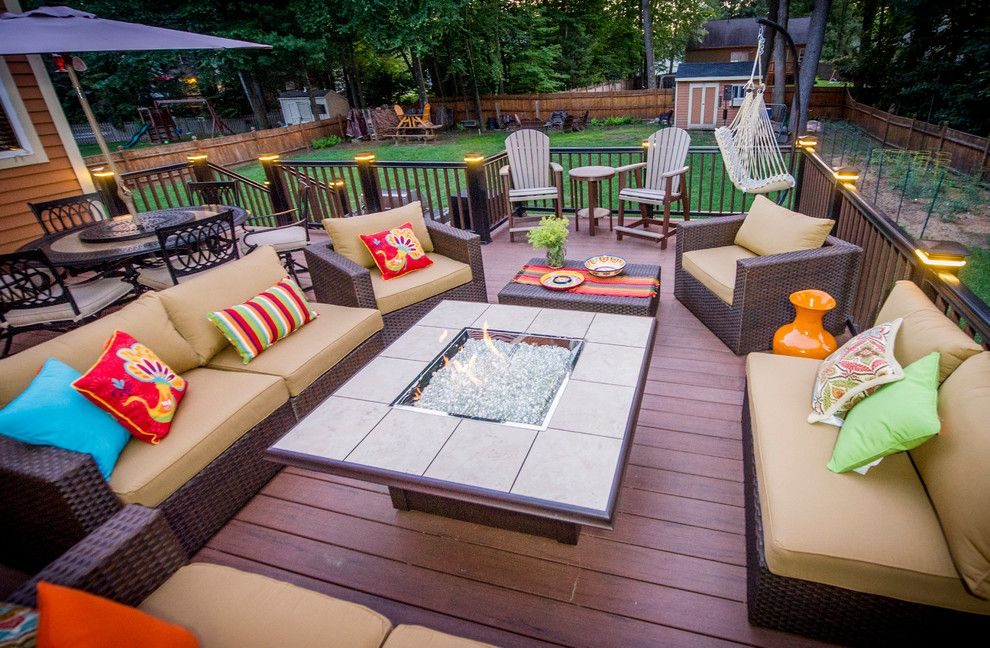 H&h Homes for a Contemporary Deck with a Fire Feature and Patios and Decks by Razzano Homes and Remodelers, Inc.