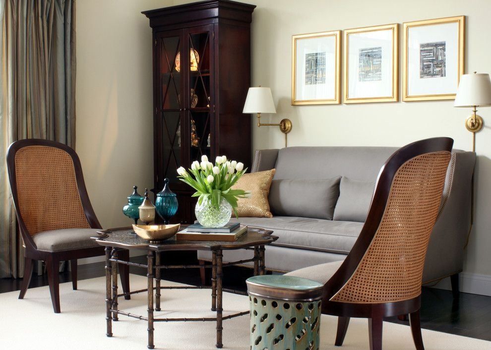 Hickory Chair for a Traditional Living Room with a Cane Chair and Traditional Living Room by Seanmichaeldesign.com