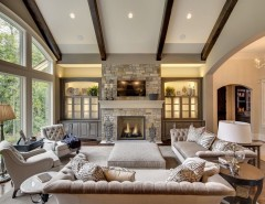 Hickory Chair for a Transitional Living Room with a Glass Table Lamp and Wayzata Dream Home Great Room by DESIGNS! - Susan Hoffman Interior Designs