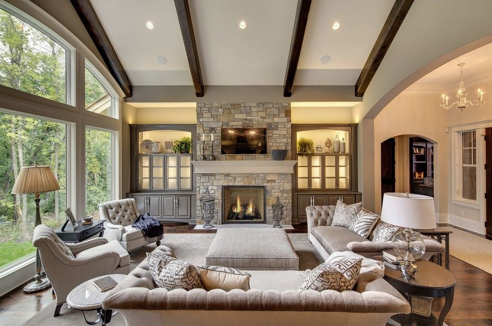 Hickory Chair for a Transitional Living Room with a Glass Table Lamp and Wayzata Dream Home Great Room by Designs!   Susan Hoffman Interior Designs