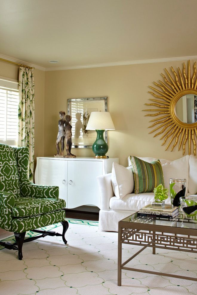 Hickory Chair Furniture for a Contemporary Living Room with a Gold Starburst Mirror and Inverness Circle by Tobi Fairley Interior Design