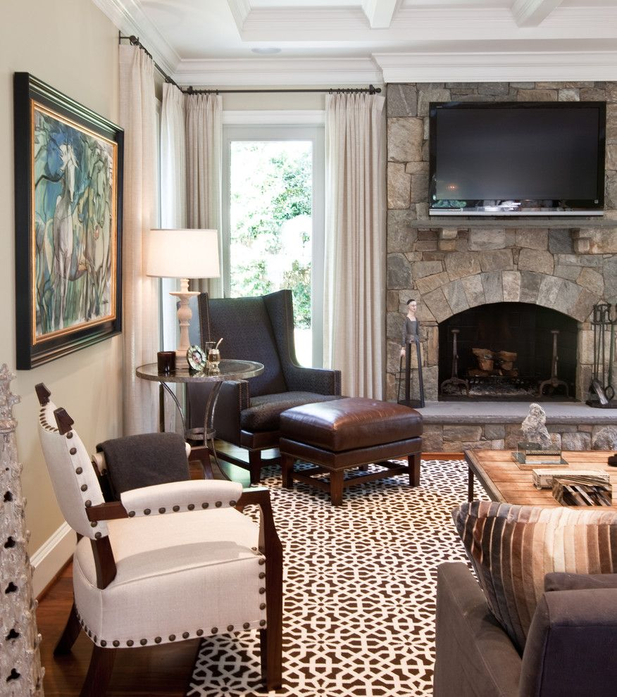 Hickory Chair Furniture for a Traditional Family Room with a Wood Floor and Family Room by Elizabeth Reich