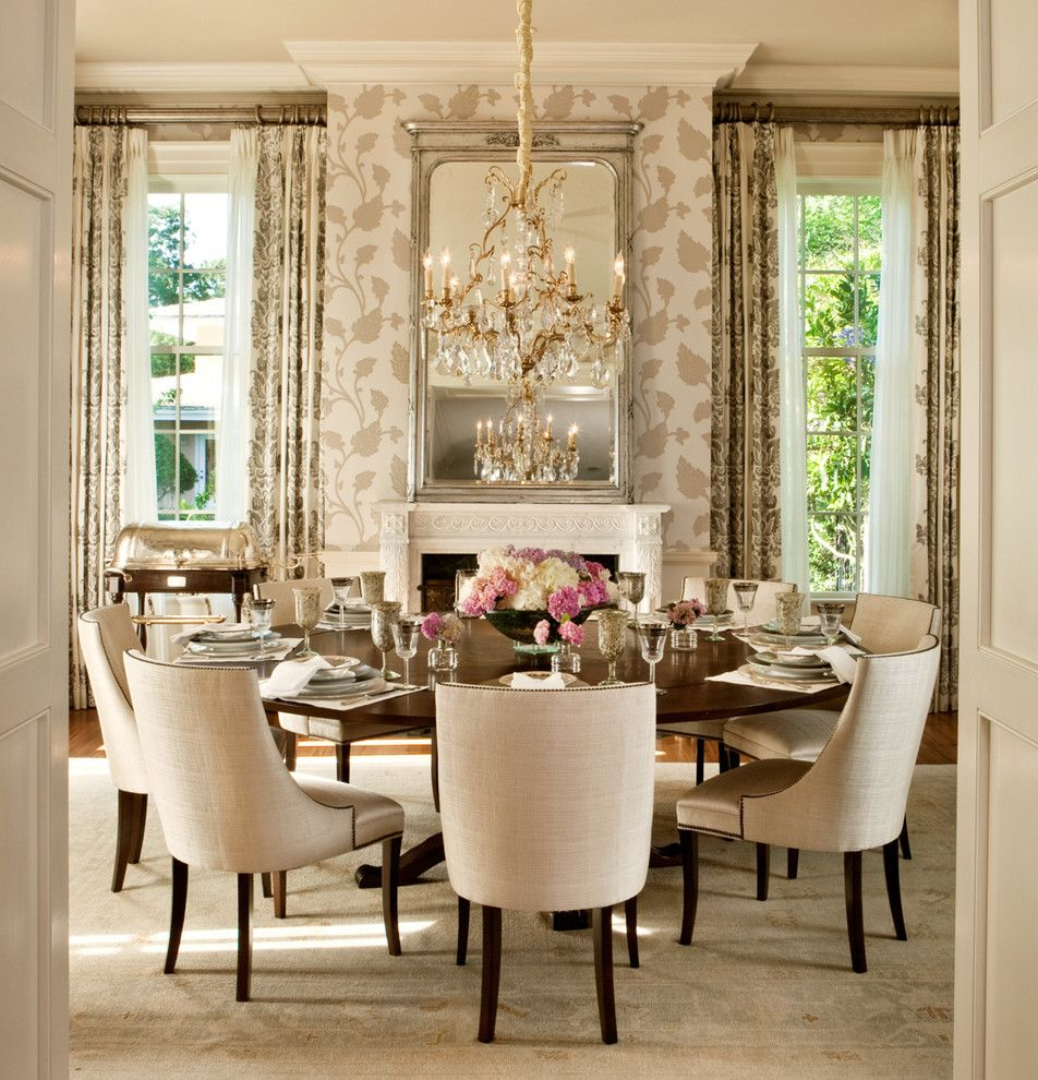 Hickory Chair Furniture for a Transitional Dining Room with a Fireplace and Florida Home by Lgb Interiors