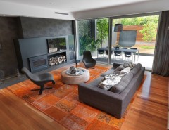Hickory Furniture Mart for a Contemporary Family Room with a Patchwork Rug and Brighton Home by MR.MITCHELL