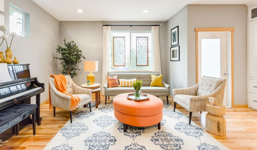 Hickory Furniture Mart for a Transitional Family Room with a Ottoman and From Wasted Space to Ultimate Family Friendly Living Room by Design Harmony