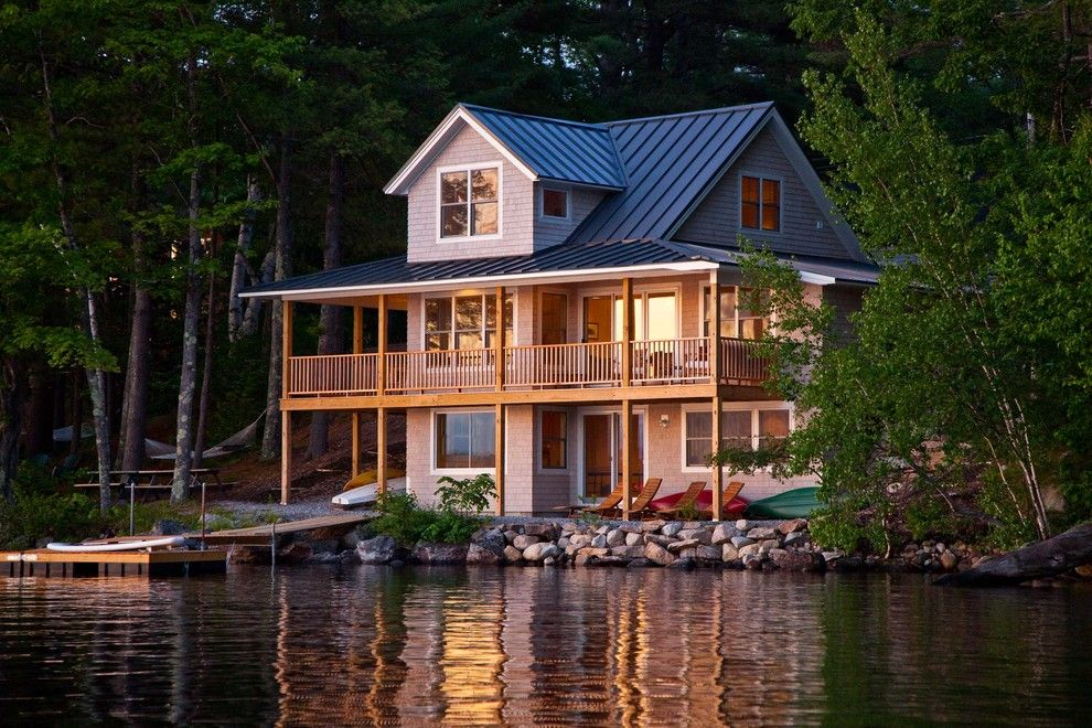Highland House Furniture for a Rustic Exterior with a Deck and Highland Lake House by Kaplan Thompson Architects
