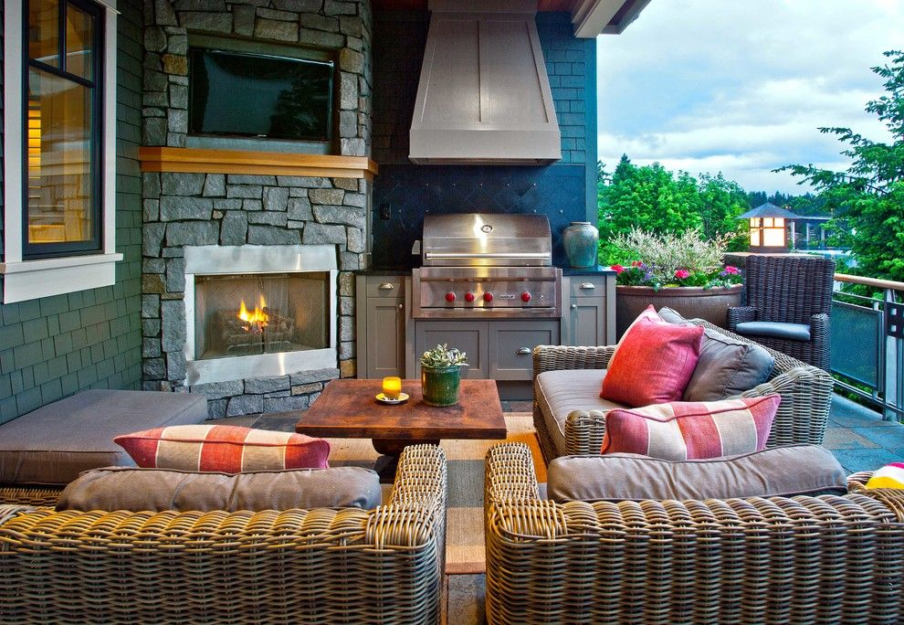 Highland House Furniture for a Traditional Patio with a Black Backsplash and Mercer Island Waterfront Estate by Shuler Architecture