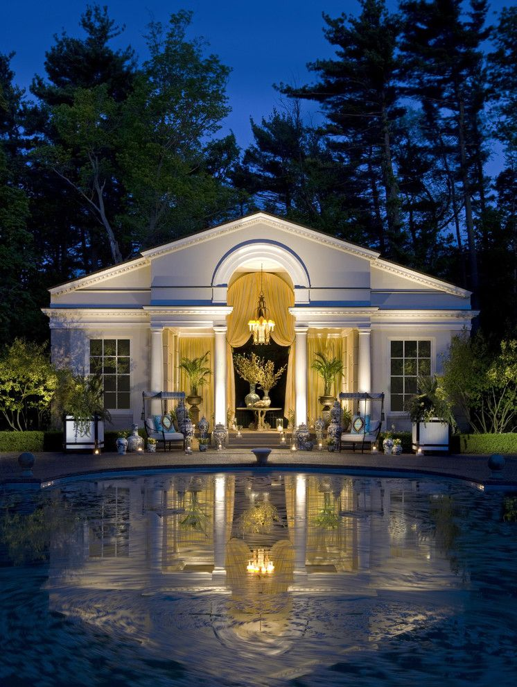 Highland House Furniture for a Traditional Pool with a Patio Furniture and Pool House by Marshall Morgan Erb Design Inc.