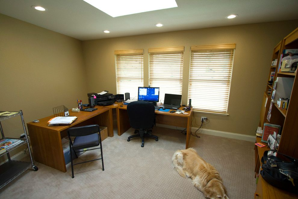 Hiline Homes for a Contemporary Home Office with a We Were Even Able to Fit This 170 Sq Ft and the Finished Office Interior Featuring My New Friend Amber by Hiline Builders Inc.