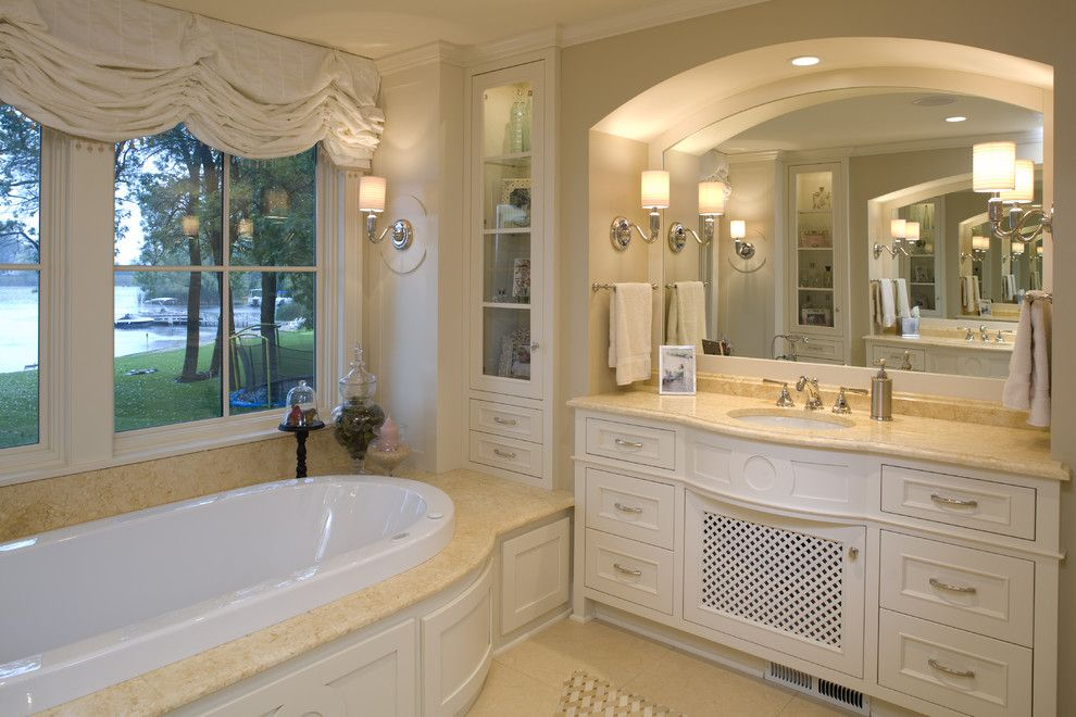 Hirshfields for a Traditional Bathroom with a Soaking Tub and Master Bath by Warren Home Restorations