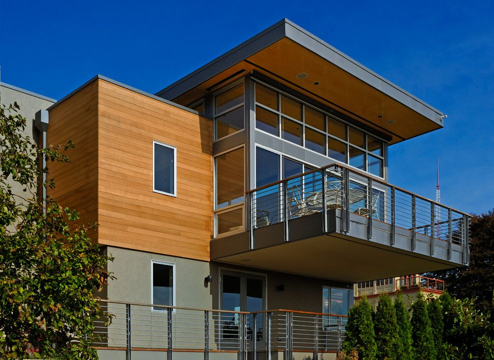 Hive Modern for a Modern Exterior with a Balcony and Wood, Naturally by Wood, Naturally