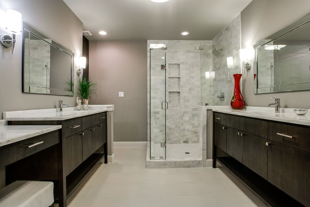 Hobby Lobby Mirrors for a Contemporary Bathroom with a Two Vanities and White Rock Lake View by New Leaf Construction