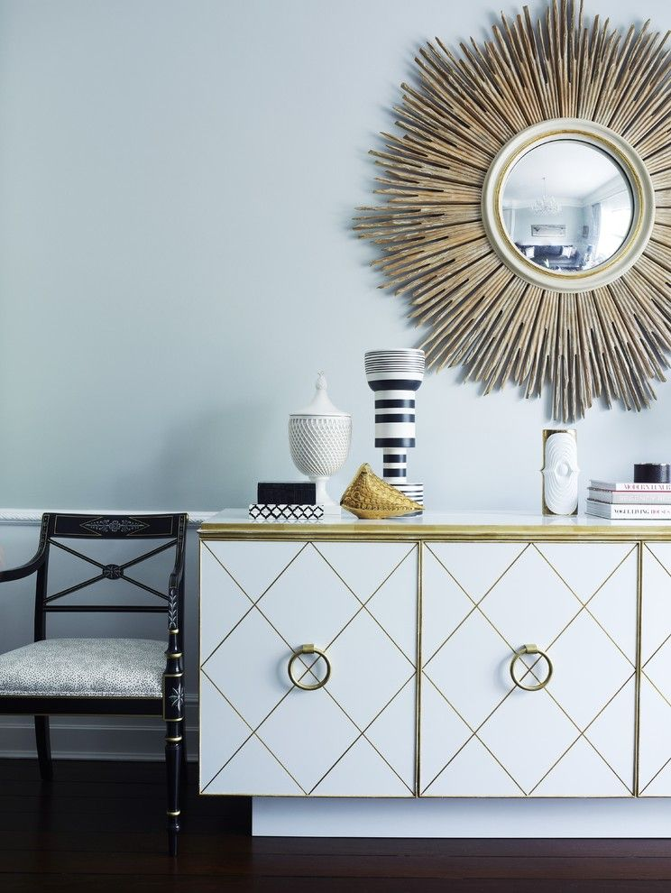 Hobby Lobby Mirrors for a Contemporary Hall with a Sunburst Mirror and White Console by Greg Natale