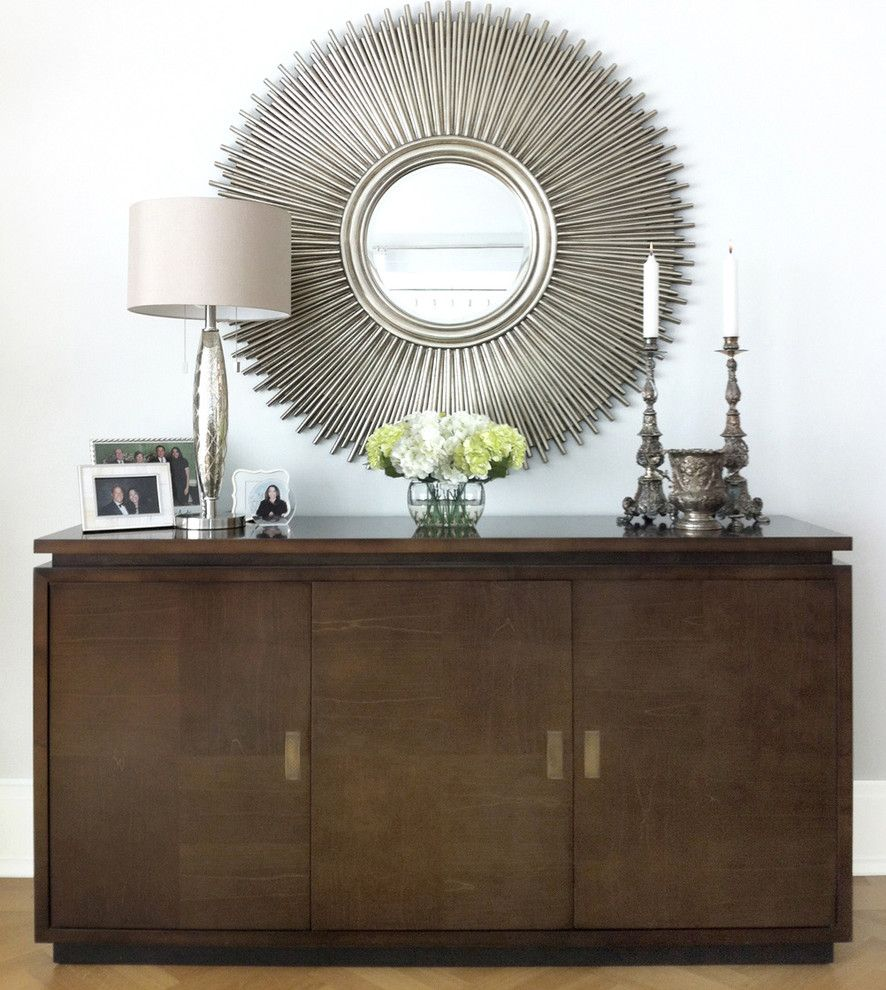 Hobby Lobby Mirrors for a Modern Living Room with a Wood Buffet and Credenza & Mirror by David Schaf Interiors, Llc