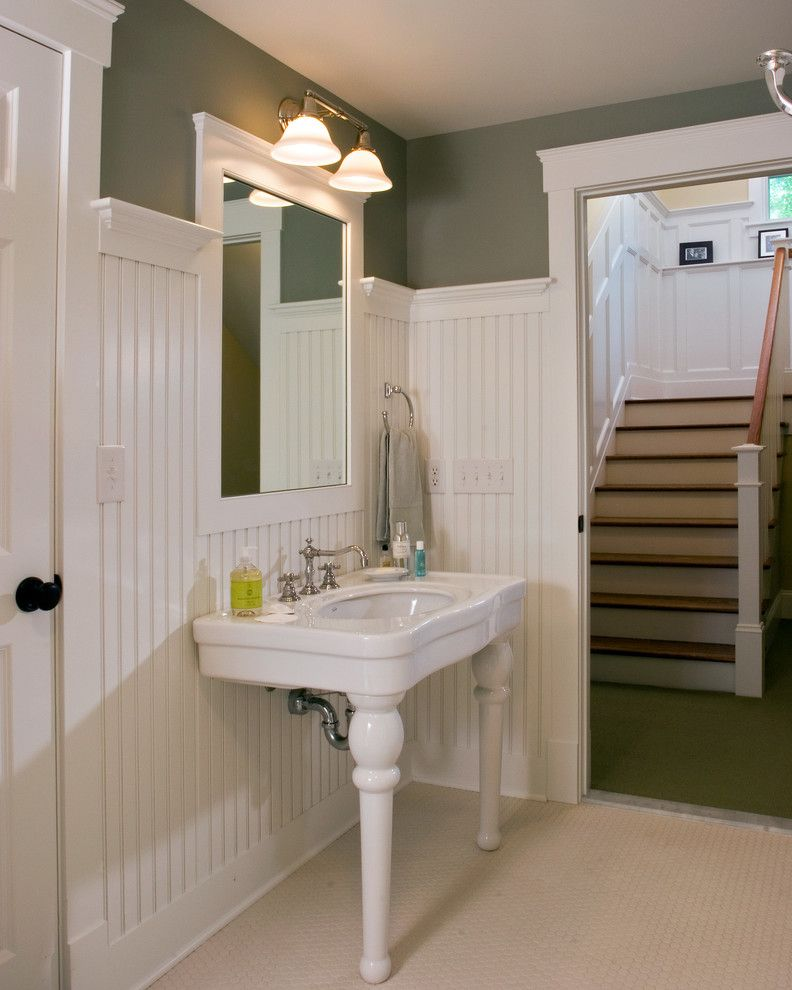Hobby Lobby Mirrors for a Traditional Bathroom with a Pedestal Sink and Every Room Has a Story by Teakwood Builders, Inc.