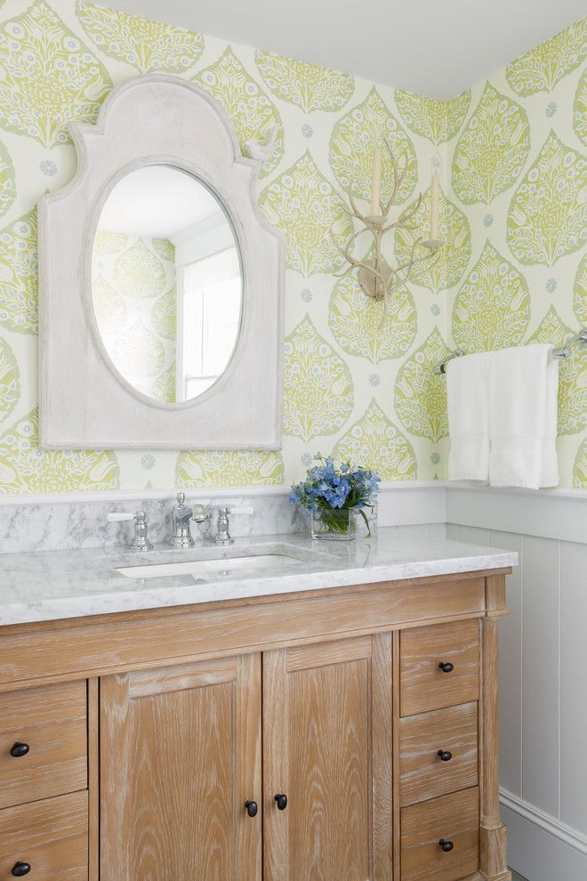 Holland and Sherry for a Beach Style Bathroom with a White Mirror and Rockport Beach House by Reiko Feng Shui Design