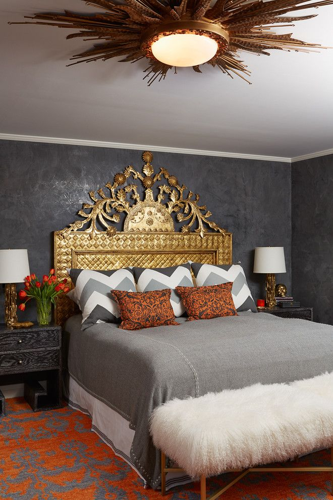 Holland and Sherry for a Contemporary Bedroom with a Dark Gray Wall and Artful Tudor by Andrew Flesher Interiors