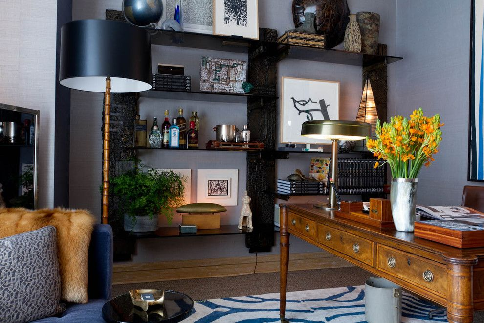 Holland and Sherry for a Contemporary Home Office with a Wallpaper and Gentleman's Study: David Scott Interiors by Rikki Snyder