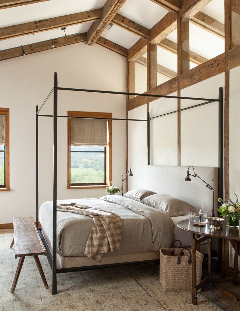 Holland and Sherry for a Farmhouse Bedroom with a Four Poster Canopy Bed and Healdsburg Ranch by Jute Interior Design
